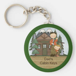 Rustic Lodge Hunting Dad and Boy at Cabin Custom Keychain