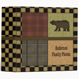 Rustic Lodge Look With Bear Customizable Family Binder