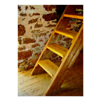 Rustic Loft Steps Poster