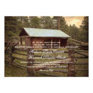 Rustic Log Cabin Country Wedding Invitations