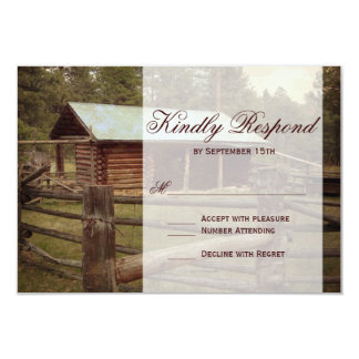 Rustic Log Cabin Country Wedding RSVP Cards Personalized Invitations