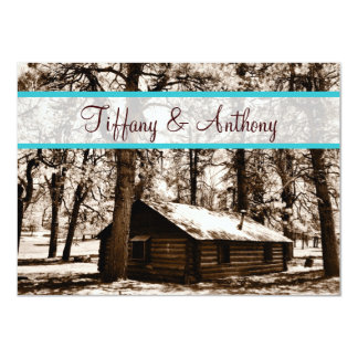 Rustic Log Cabin in Woods Teal Wedding Invitations