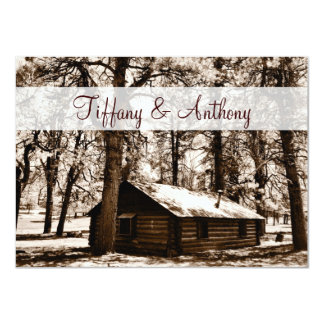 Rustic Log Cabin Pine Trees Wedding Invitations