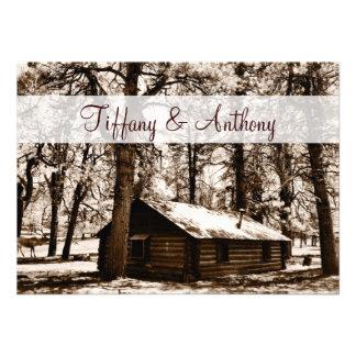 Rustic Log Cabin Pine Trees Wedding Invitations Invite