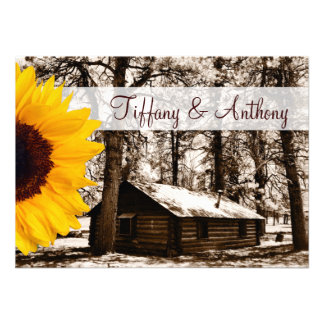 Rustic Log Cabin Sunflower Wedding Invitations Personalized Invites