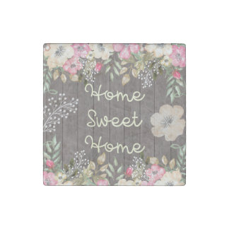 Rustic Look Home Sweet Home Floral Wood Stone Magnet