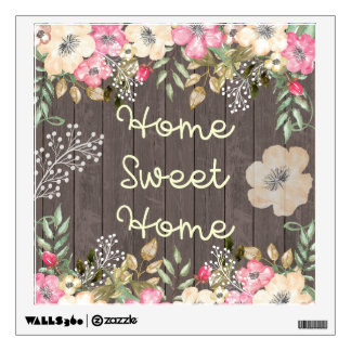 Rustic Look Home Sweet Home Floral Wood Wall Decal