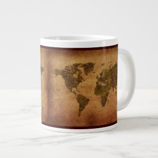 Rustic-look World Map Jumbo Soup Mug Extra Large Mug