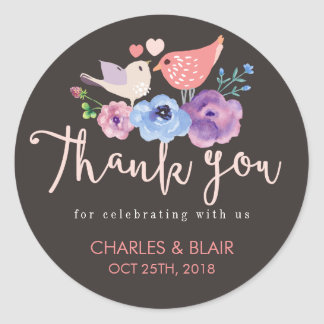 Rustic Love Bird Flower Thank You Wedding Sticker