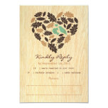 Rustic Love Bird Leaf and Heart RSVP Card