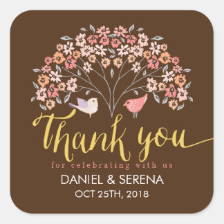Rustic Love Birds Flower Thank You Wedding Sticker