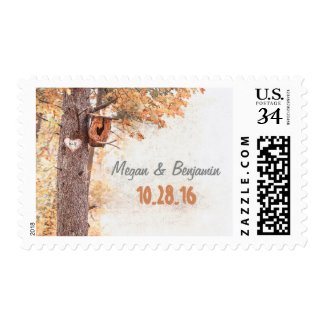 Rustic Love Heart Tree Fall Wedding Postage Stamps