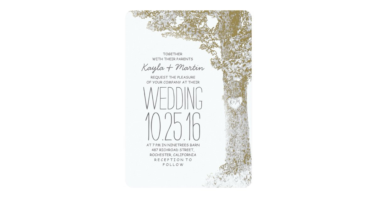 Rustic Love Heart Tree Wedding Invitations Zazzle Com