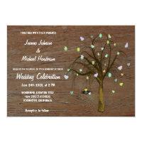 Rustic love hearts tree elegant country wedding card