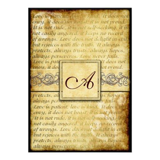 Rustic Love Is Patient Vintage Wedding Invitations 5 X 7 Invitation Card