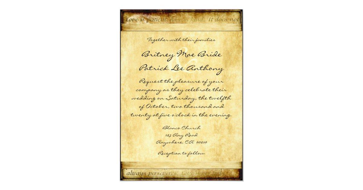 Rustic Love Is Patient Vintage Wedding Invitations