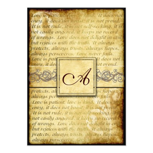 "Rustic Love is Patient Vintage Wedding Invitations 5"" X 7"" Invitation Card"