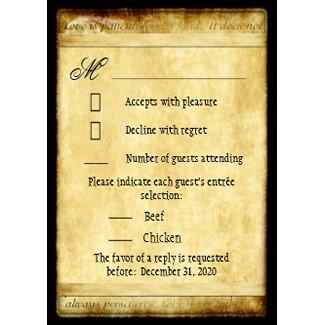 Rustic Love is Patient Vintage Wedding RSVP Cards zazzle_invitation
