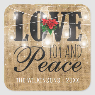 Rustic Love, Joy & Peace Christmas Holidays Square Sticker