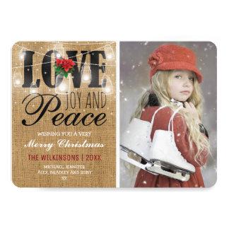 Rustic Love, Joy & Peace Photo Christmas Holidays Card