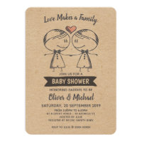 Rustic Love Makes a Family Gay Baby Shower Invitation