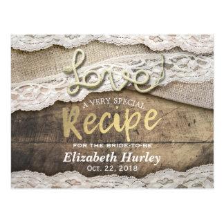 Rustic Love Rope Burlap Lace Bridal Shower Recipe Postcard