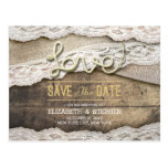 Rustic Love Rope Burlap Lace Wedding Save The Date Postcard