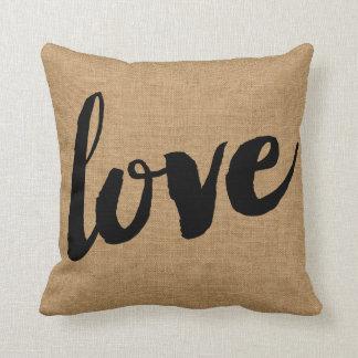 Rustic Love Script Throw Pillow