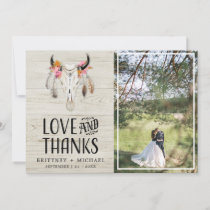 Rustic Love Thanks Antler Light Wood Thank You Card