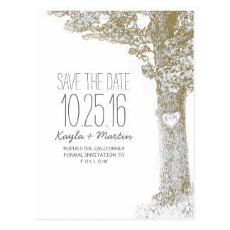 Rustic love tree country save the date postcards