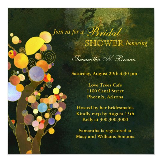 Rustic Love Trees Modern Bridal Shower Card