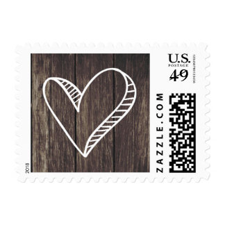 Rustic Love White Heart Brown Wooden Wedding Postage