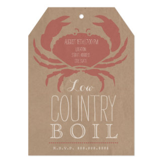 Rustic Low Country Boil Crab Invitation