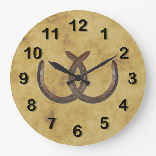 rustic lucky horseshoes distressed background large clock zazzle