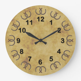Rustic Lucky Horseshoes Distressed BG DIY Markers Large Clock