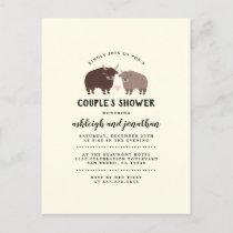Rustic Lumberjack Bison Couple's Baby Shower Invitation Postcard