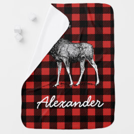 Rustic Lumberjack Plaid & Moose with Baby's Name Swaddle Blanket