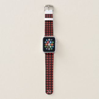 Rustic Lumberjack Plaid & White Initial Letter Apple Watch Band