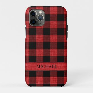 Rustic Lumberjack Red Black Buffalo Check Name Case-Mate iPhone Case
