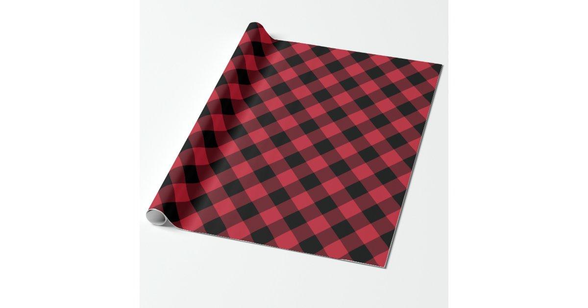 Rustic Lumberjack Red Black Buffalo Check Plaid Wrapping ...
