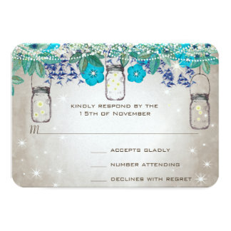 Rustic Luxe Mason Jar Navy Turquoise Card