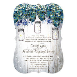 Rustic Luxe Mason Jar Navy Turquoise Peacock Card