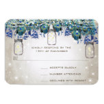 Rustic Luxe Mason Jar Navy Turquoise Peacock 3.5x5 Paper Invitation Card
