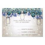 "Rustic Luxe Mason Jar Navy Turquoise Peacock 3.5"" X 5"" Invitation Card"