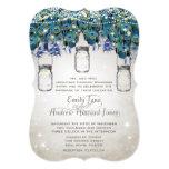 "Rustic Luxe Mason Jar Navy Turquoise Peacock 5"" X 7"" Invitation Card"