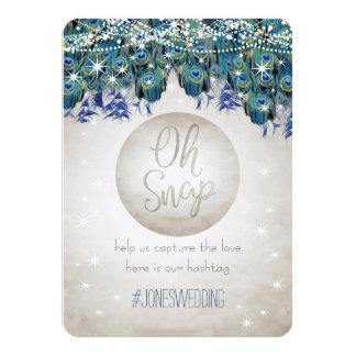 Rustic Luxe Peacock Wedding Hashtag Card