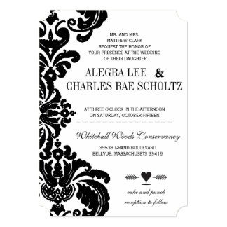 rustic luxe vintage black damask wedding invites - Damask Wedding Invitations
