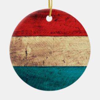 Rustic Luxembourg Flag Ceramic Ornament