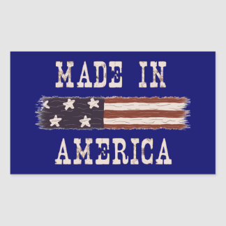 "Rustic ""Made in America"" Flag Stickers"