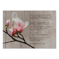 Rustic Magnolia Branch Wedding Invitations